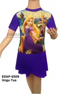 EDAP-5509 Ungu Tua-edora pakaian renang diving rok anak-anak