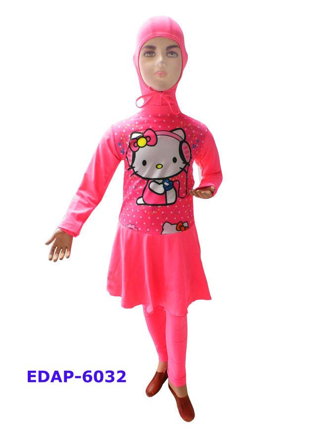 Baju Renang Anak Muslimah Karakter Edap 6032 Pink