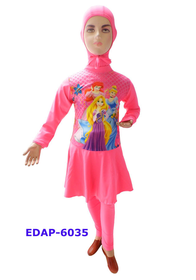 Baju Renang Anak Muslimah Karakter Edap 6035 Pink
