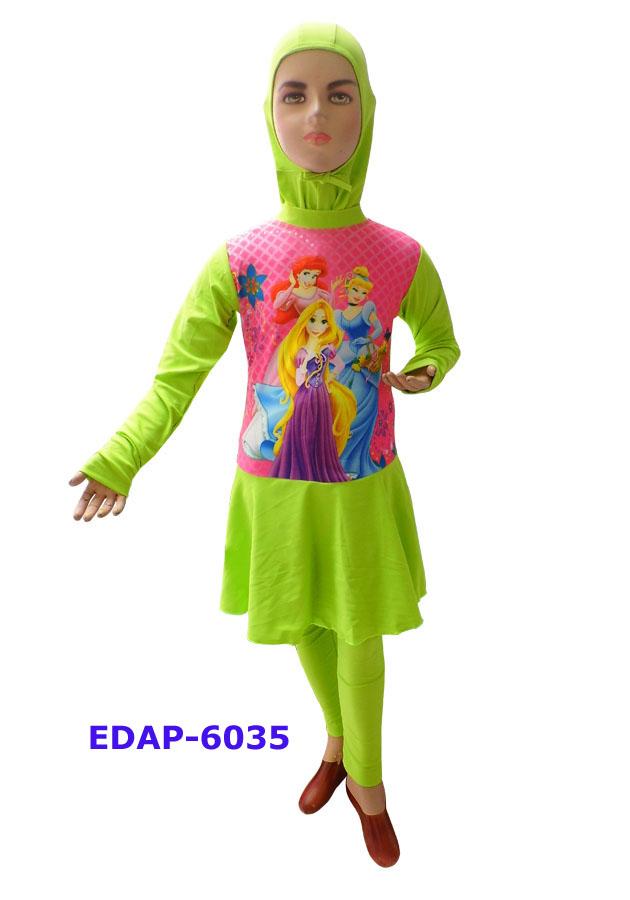 Baju Renang Anak Muslimah Karakter Edap 6034 Hijau