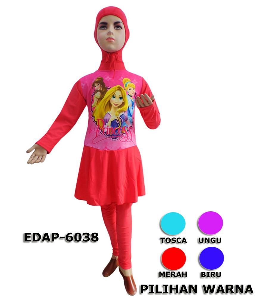Baju Renang Anak Muslimah Karakter Edap 6038 4 Warna