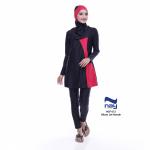 Baju Renang Muslimah Dewasa NSP 012 Hitam Merah