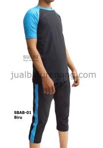 SBAB-01 Biru-sulbi baju renang laki atas-bawah dewasa