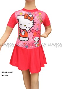 EDAP-5520 Merah-koleksi busana renang diving rok hello kitty