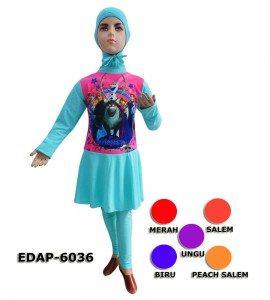 Baju Renang Anak Muslimah Karakter EDAP-6036 (6 Warna)