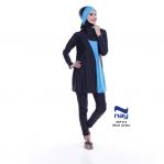 Baju Renang Muslimah Dewasa NSP 012 Hitam Biru