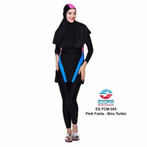 Baju Renang Muslimah Edora ES FCM 005 Pink Fanta-Biru Turkis