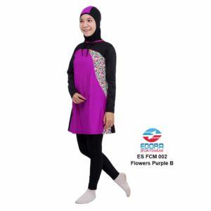 Agen Baju Renang Muslimah Edora ES FCM 002 B Flowers Purple