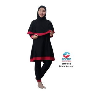 Baju RenangMuslimah EdoraEMP002 Black Maroon