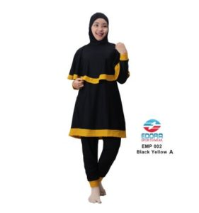 Baju RenangMuslimah EdoraEMP002 Black Yellow A
