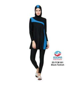 BAJU RENANG MUSLIMAH EDORA ES FCM 001 BLACK TURKISH