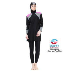 Jual Baju Renang Muslimah Edora ES FCM 006 Hitam List Abu Pink Terbaru
