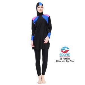 Jual Baju Renang Muslimah Edora ES FCM 006 Hitam List Biru Pink Terbaru