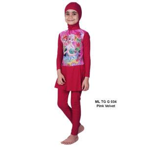 Jual Baju RenangAnak SD Perempuan Edora Muslimah ML TGG 034Pink Velvet Terbaru