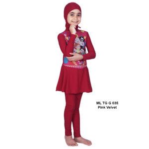 Jual Baju RenangAnak SD Perempuan Edora Muslimah ML TGG 035Pink Velvet Terbaru