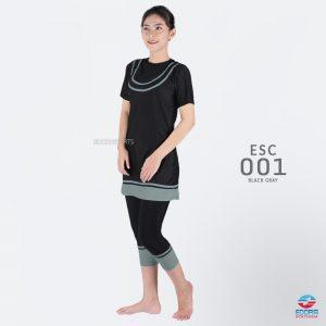 Baju Renang Wanita Edora Semi Cover ESC 001 Black Gray