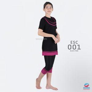 Baju Renang Wanita Edora Semi Cover ESC 001 Black Pink