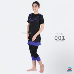 Baju Renang Wanita Edora Semi Cover ESC 001 Black Purple