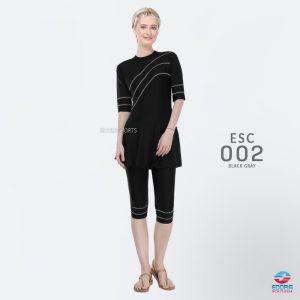 Baju Renang Wanita Edora Semi Cover ESC 002 Black Grey