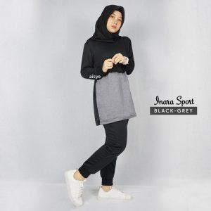 Baju Senam Inara Sport Black Grey