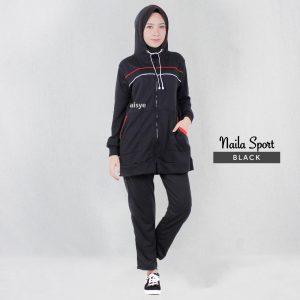 Baju Senam Wanita Muslimah Naila Sport Black