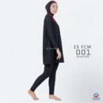 Grosir Baju Renang Muslimah Terbaru ES FCM 001 Black Red