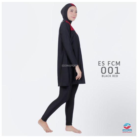 Grosir Baju Renang Muslimah Edora ES FCM 001 Black Red