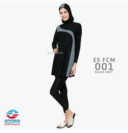 Jual Baju Renang Muslimah Modern ES FCM 001 Black Grey