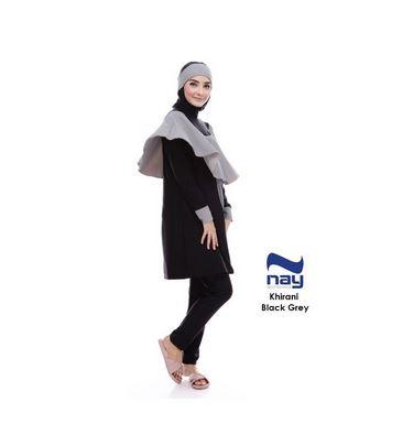 Jual Baju Renang Nay Sportswear Murah Khirani Black Grey