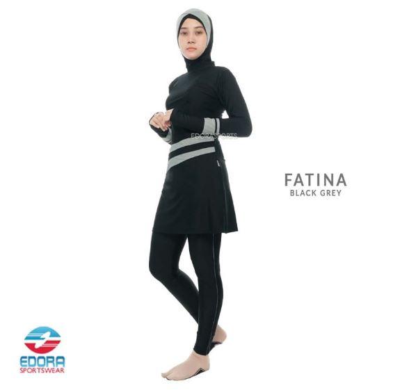 Grosir Baju Renang Muslimah Modern Edora Fatina Black Grey
