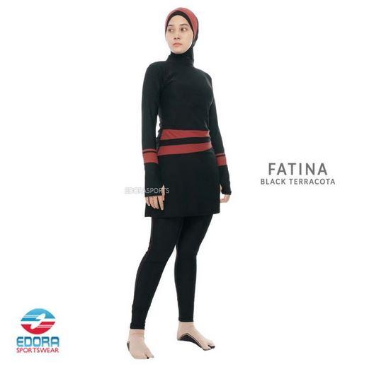 Toko Baju Renang Muslimah Murah Edora Fatina Black Terracota